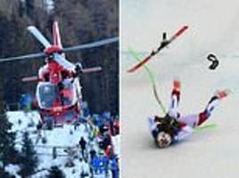 swiss skier marc gisin gets airlifted to hospital after  horror crash in world cup downhill