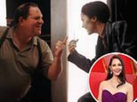Harvey Weinstein and Ashley Judd lark about on set four years after he 'sexually assaulted her'