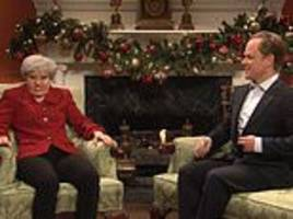 he bounced and left me to clean up his mess': us comedy show snl mocks theresa may's brexit stress