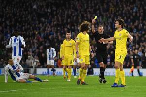 alan shearer gives his verdict on whether marcos alonso should have been sent off at brighton