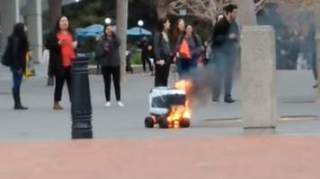 kiwibot delivery robot catches fire after 'human error'