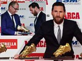 lionel messi gets fifth golden shoe as barcelona ace thanks team-mates