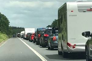 m5 congestion after crash between coach and motorbike closes a39