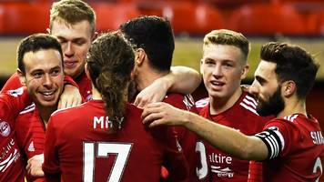 aberdeen near premiership summit after dundee rout