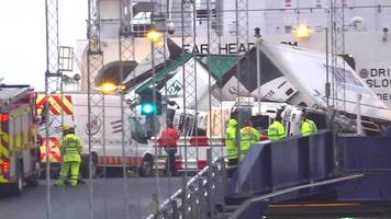 Larne to Cairnryan ferry lorry topple inquiries continue