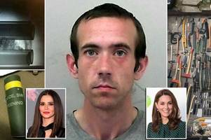 bomb-maker matthew glynn had kate middleton and cheryl pictures on 'hate' dartboard