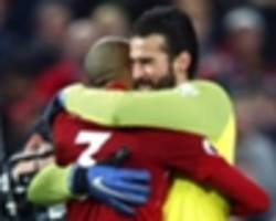 """no, bro, let it go"" - fabinho tells alisson to forget man utd blunder"