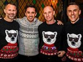 ex-united defender is the odd one out as class of 92 legends enjoy christmas jumper party