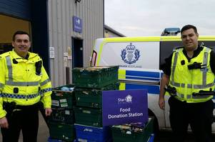 stirling foodbank boosted by donation from forth valley police