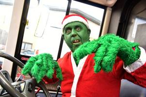 the bus driver who's driving around cardiff dressed as the grinch