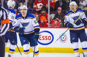 blues wrap up road trip with 3-1 victory over flames