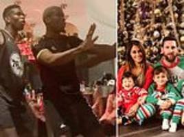 Paul Pogba dances with his brothers as football's stars celebrate Christmas Day with loved ones