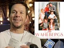mark wahlberg poses with wife rhea durham and their four kids in family christmas card