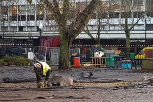 birmingham cathedral grounds become a mudbath after christmas market packs up