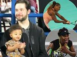 serena williams' daughter alexis claps for both her mom and aunt venus during their tennis match