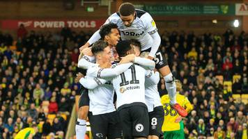 norwich city 3-4 derby county: frank lampard experiences football first after jack marriott winner
