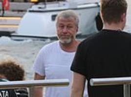 roman abramovich looks glum amid the super-rich trappings of st barts