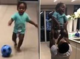 raheem sterling's son thiago shows off shooting prowess as he enjoys playing football