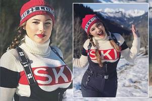 kelly brook sends fans wild as she takes her 'twin peaks' skiing