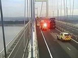 police forced to close m48 severn bridge after man scales one of its towers to 'fly drone'