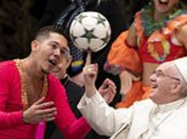 the pope inspires hilarious memes by spinning a soccer ball on his finger