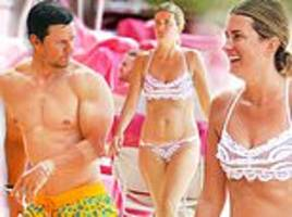 mark wahlberg flaunts his gym-perfected physique while wife rhea rocks revealing lace swimsuit