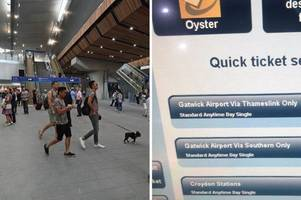 ticket blunder at london bridge tried to charge passengers £10,000 for fare to gatwick airport