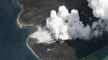 planet satellites get clear view of anak krakatau volcano