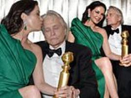 catherine zeta-jones and michael douglas at golden globes after party
