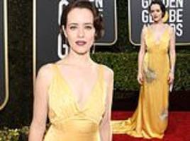 golden globes: claire foy exudes glamour in embellished gold dress with old hollywood-style hair