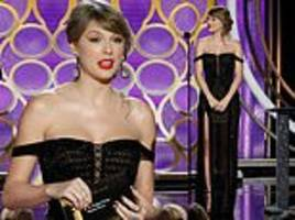 taylor swift gets hearts racing in sheer beaded gown during surprise appearance at the golden globes