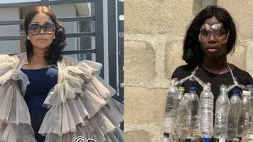 celebrity looks recreated by nigerian using nuts and bottles