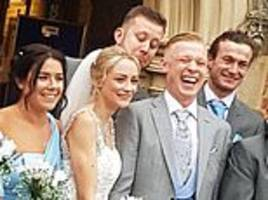 cheeky groomsman is caught checking out his best friend's new wife in wedding shoot
