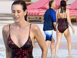 paul mccartney's wife nancy shevell, 59, shows off her sensational figure in a plunging swimsuit