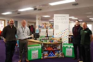 truro college students donate half a tonne of goods to truro foodbank