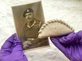replica stone cornish pasty carved in bethlehem in 1943 by homesick soldier given to museum
