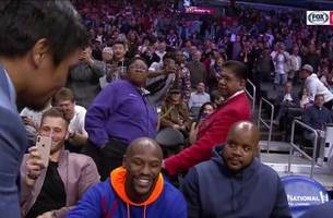 manny pacquiao greets floyd mayweather, dap each other at clippers game