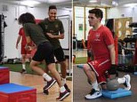 pumping iron before facing the irons! arsenal in high spirits ahead of west ham clash