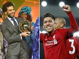 roberto firmino congratulates mohamed salah on his african player of the year award