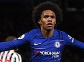 chelsea 2-1 newcastle: willian sends blues six points clear in fourth