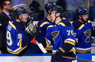 injury plagued blues square off on the road against division rival stars