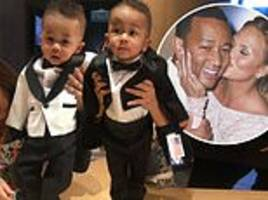 chrissy teigen turns baby miles into mini john legend and asks fans to choose son's tux
