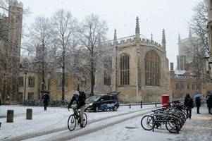 snow and sub-zero temperatures are forecast for cambridge on these days