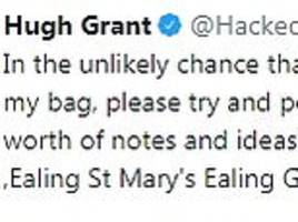 Hugh Grant appeals for return of script after thieves broke into car overnight