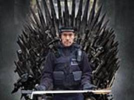 police officer who posed holding a seized 4ft sword is mocked for his game of thrones pose