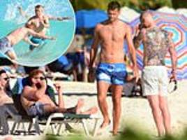 ben stokes shows off his full back tattoo as england cricketers hit beach in barbados