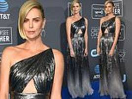 charlize theron sparkles in silver metallic givenchy at critics' choice awards