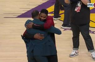 tristan thompson, lebron james share a halftime hug in l.a.