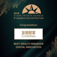 CreditEase Wealth Management Wins Four Awards at the Asian Private Banker Awards for Distinction 2018 as the Biggest Chinese Institution Winner