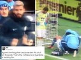 'ruthless': fans question sergio aguero's reaction to gabriel jesus colliding with post